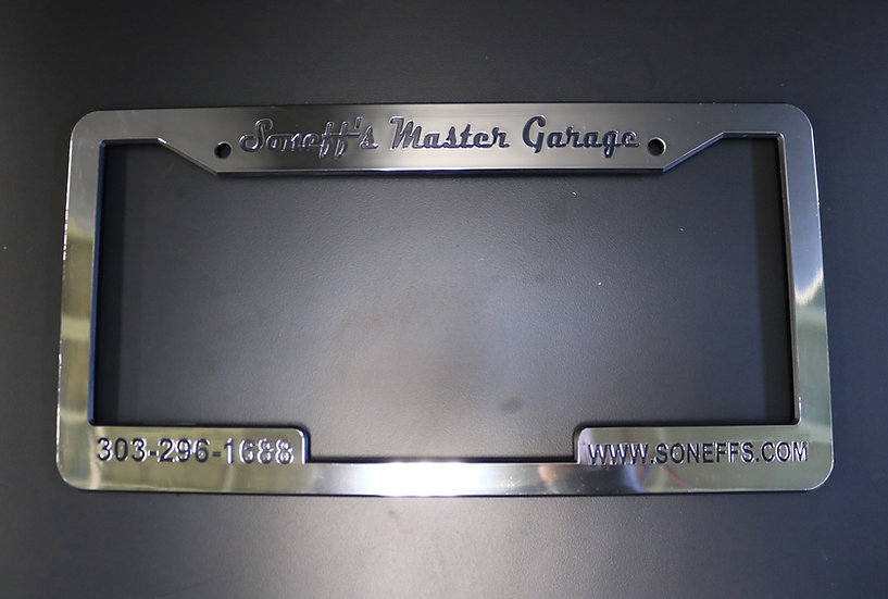 Soneff's Master Garage Licence Plate Cover