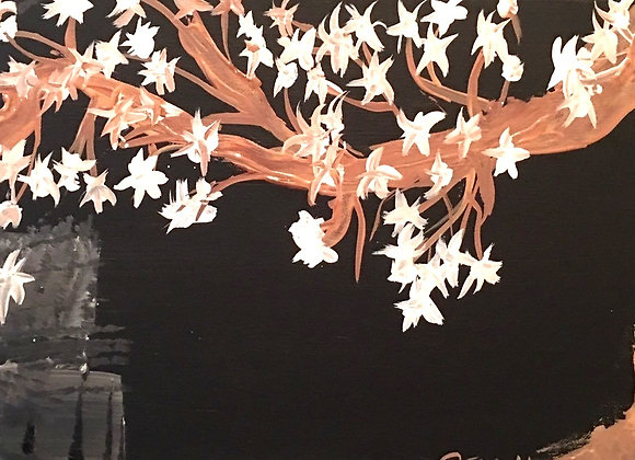 """Night Blooming Original Painting Size 20''W x 10""""H"""