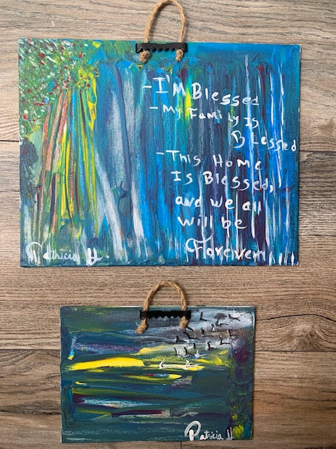 Blue Paintings -Set of two wall artwork with Positive Affirmation