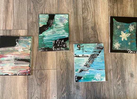 Original Paintings with Positive Quote- Set of 4