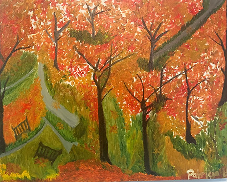 "Autumn View- Oil on a Classic Stretched Canvas- Size 20""W by 16""H by .07"