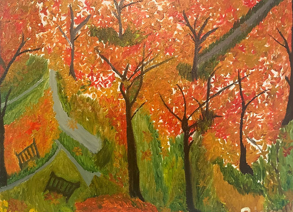 """Autumn View- Oil on a Classic Stretched Canvas- Size 20""""W by 16""""H by .07"""