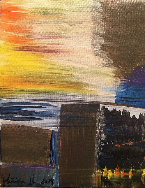 "Abstract NY City Sky view original painting- Size: 10""H x 8""W"