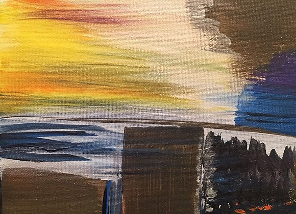 """Abstract NY City Sky view original painting- Size: 10""""H x 8""""W"""