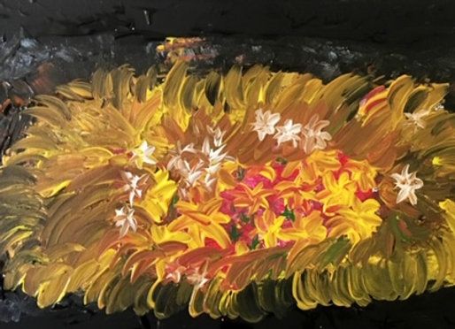"""Flawless-Charcoal Black and Yellow Abstract Painting - size 16""""W x10""""H"""