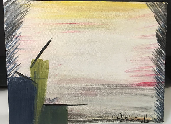 """Modern Abstract Painting- Acrylic on a Classic Canvas Size 14""""W by 11""""H"""