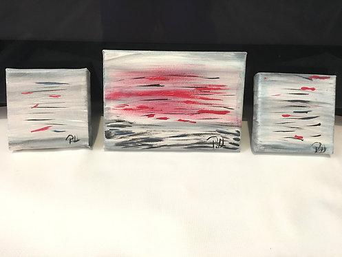 Abstract Paintings-Set of Three small original artwork