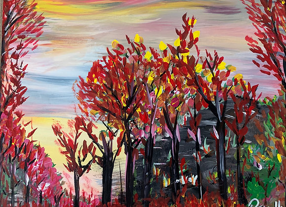 """Red Forest Somewhere In Canada- Original Painting size 20""""W x 16H"""""""