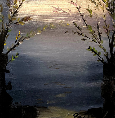Home Decor original painting of a Winter Sunset View by Lake Hopatcong