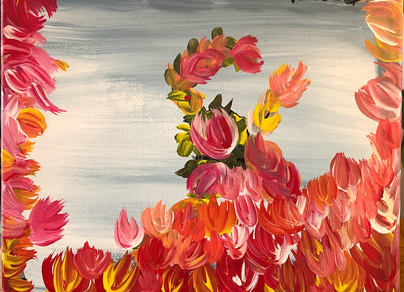 """Floral Original Painting- From My series Florencia No.4 -Size 10""""W by 8""""H"""