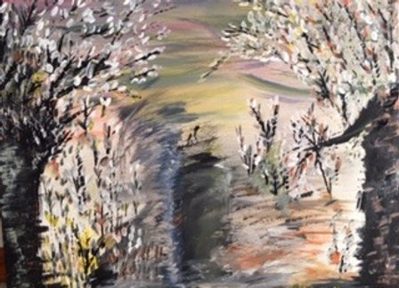 """The Walked- is an Original Painting size 20""""W x 16""""H in inches."""