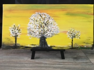 Mindful Yellow-White Tree Original Painting Ready to Hang- Free Shipping-USA