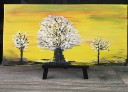Mindful Yellow-White Tree Original Painting- No for sale at this moment