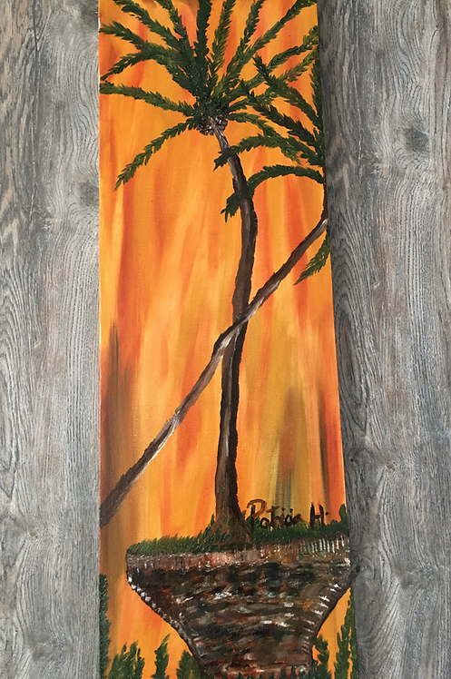 "Oil On Canvas Painting- Large 30'H x 10"" W "" ""Abstract Coconut Trees"""
