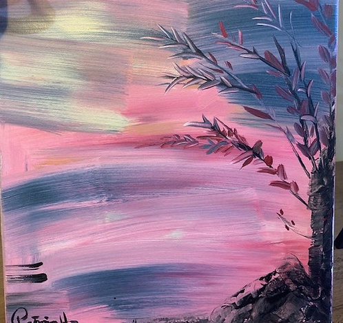 "Pink- Original Painting  size 12""H x 12""W- Acrylic on Canvas ready to hang"