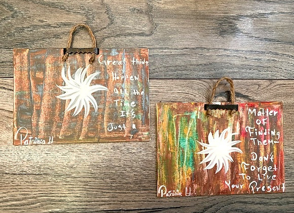 """Set Of Two Original Paintings with Inspirational Quote- Size 7""""W by 5""""H.-"""