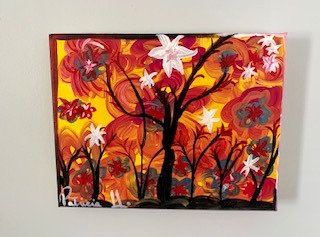 "Black Trees- Colorful artwork size 10""W x 8"" H- Acrylic on a classic stretch Can"
