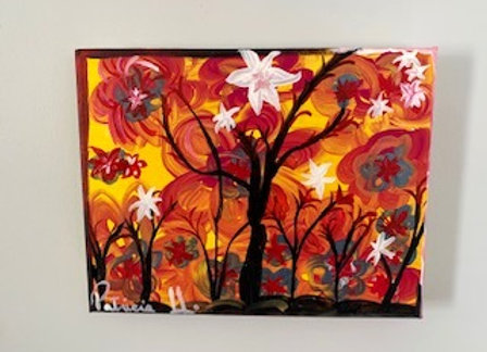 """Black Trees- Colorful artwork size 10""""W x 8"""" H- Acrylic on a classic stretch Can"""