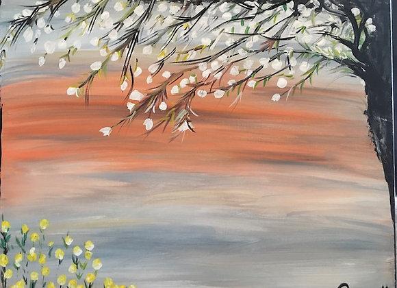 "Feeling The Breeze- Size 20""W x 16""H- Original Artwork Acrylic on Canvas"