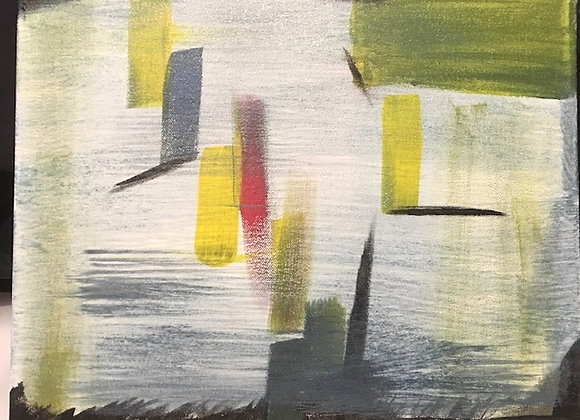 """On The Go- Original Abstract Painting size 14""""W x 11""""H"""