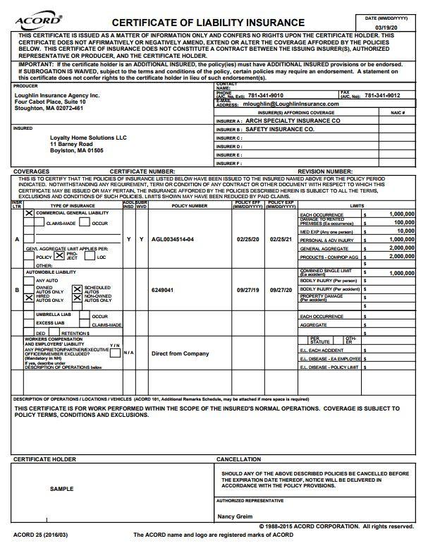 Liability Certificate