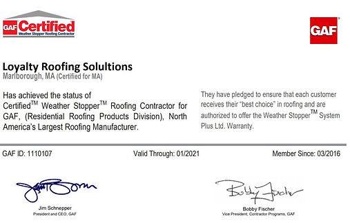 Loyalty Roofing GAF Certification