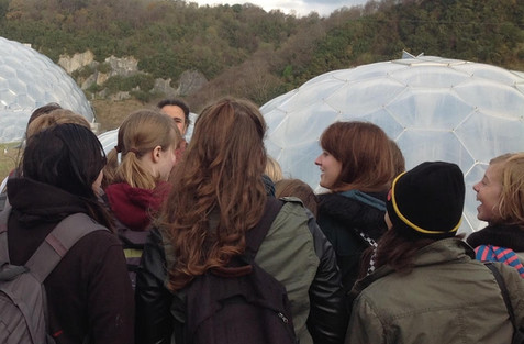 Honeyscribe and Kaleider taking college students to Eden Project, Cornwall researching plants and fossil fuels for Ancient Sunlight Project 2016