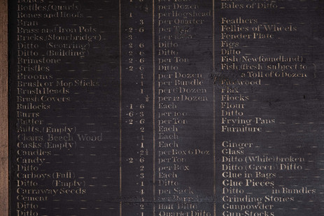 """1829 Rate """"Tariff"""" board (detail), highlighting the range of goods that a custom duty was charged on"""