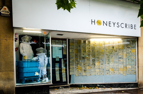 Exhibition of children's artworks window display, Honeyscribe Shop, Paris Street Exeter (2018)