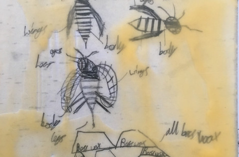Beeswax coated drawing by pupil aged 7