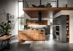 Moderne Küche Graphit Nussbaum