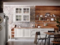 Küche Weiß Landhaus mit Holzoptik