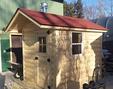 Cedar sauna half log siding duluth mn minnesota Christensen wood stove wood burning saunas wi wisconsin mi michigan for sale