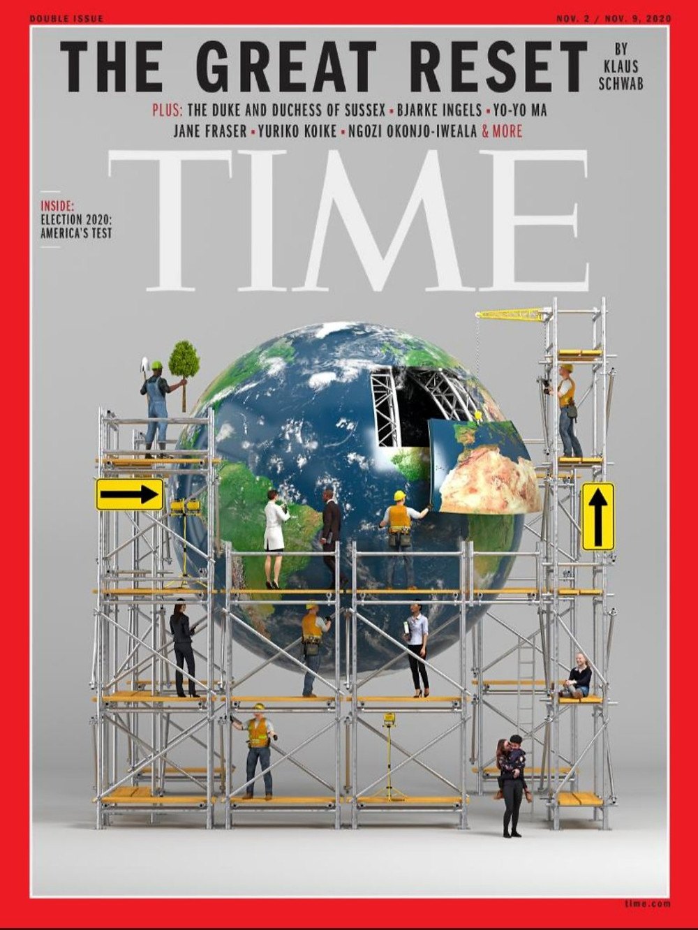 La couverture du magazine TIME du 23 octobre 2020 : « The Great Reset by Klaus Schwab ».