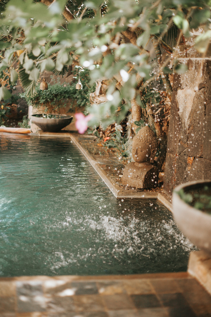 Concrete pool with fountain