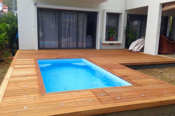 Installation of fibreglass pool & timber decking