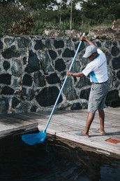 Pool guy cleaning