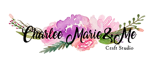 Logo for Charlee Marie & Me Craft Studie wirh pink flowers and greenery.