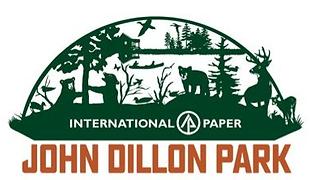 John Dillon Park Logo: bears, trees, deer, and a lake.