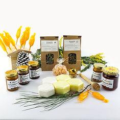 Coffrets cadeaux miel et tisanes artisanales