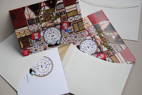 A Set of 5 Cards - New Year with a Clock