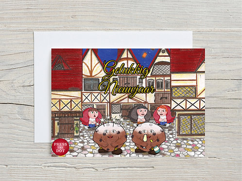 Printable card Happy New Year with the Oliebollen Dotlings DUTCH