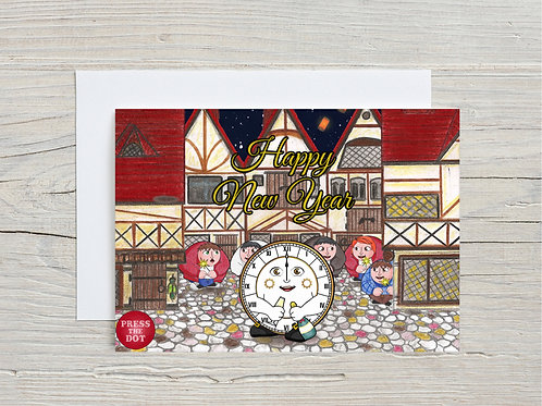 Printable card Happy New Year with the Clock Dotling