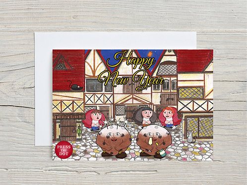 Printable card Happy New Year with the Oliebollen Dotlings ENGLISH
