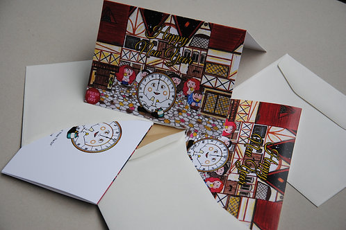 A Set of 10 Cards - New Year with a Clock