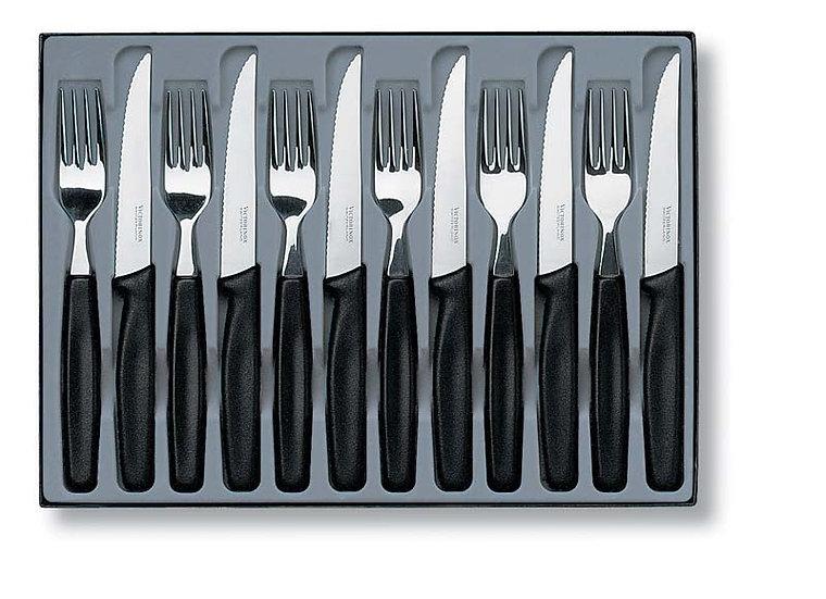 Набор столовых приборов: 6 ножей для стейков и 6 вилок VICTORINOX 5.1233.12