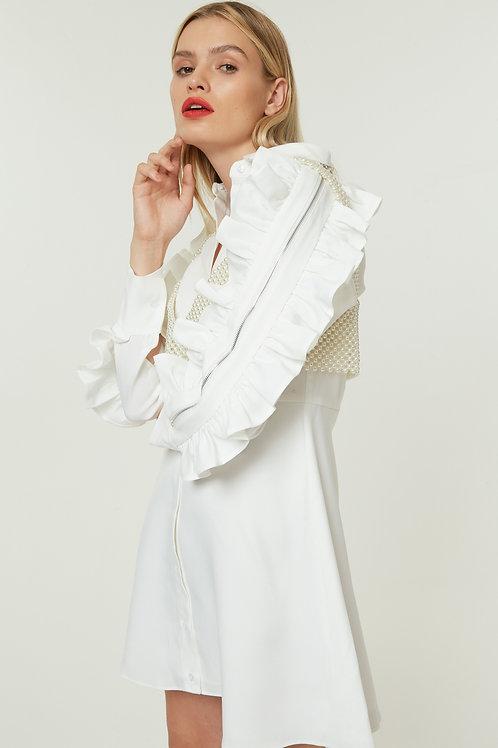 RUFFLE ZIP DRESS-WHITE