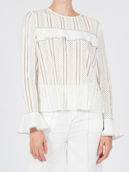 MINNOW SHEER LACE TOP - WHITE