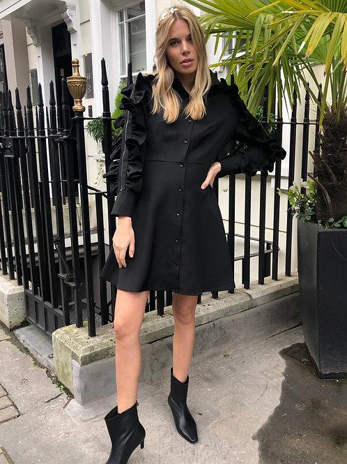 RUFFLE ZIP DRESS BLACK