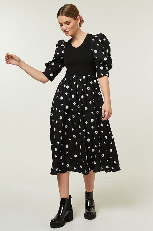 ADANNA EMBROIDERY DRESS